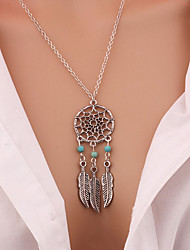 New Fashion accessories Jewelry Retro Women Bohemia Tassels Feather Pendant Necklace Dream Catcher Pendant Chain Necklace Gift