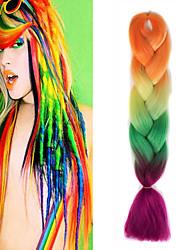 """Orange jaune olivine rose ombre crochet 24 """"yaki kanekalon fibre 100g 4 tons jumbo tresses cheveux synthétiques"""