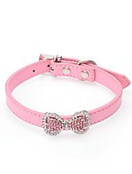 preiswerte -Katze Hund Halsbänder Regolabile / Einziehbar Solide Blume Strass Schleife PU-Leder Schwarz Rose Rot Blau Rosa