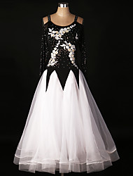 cheap -Ballroom Dance Dresses Performance Spandex Organza Lace Draped Appliques Crystals/Rhinestones Paillette 1 Piece Long Sleeve High Dress