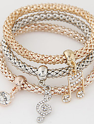 Women's Charm Bracelet Rhinestone Simulated Diamond Alloy Simple Style Fashion Music Notes Rainbow Jewelry 1set