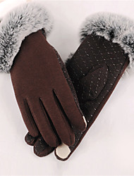 cheap -Women's Polyester Wrist Length Fingertips,Casual Solid Winter Black Gray Purple Brown Wine