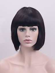 cheap -Synthetic Lace Front Wig Straight Bob Haircut / With Bangs Synthetic Hair Natural Hairline Black Wig Women's Short Lace Front