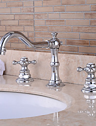 cheap -Bathroom Sink Faucet - Pre Rinse / Waterfall / Widespread Chrome Centerset Two Handles Three Holes