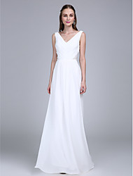 cheap -Sheath / Column V-neck Floor Length Chiffon Bridesmaid Dress with Side Draping by LAN TING BRIDE®