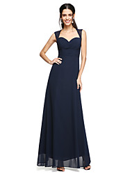 cheap -Sheath / Column Sweetheart Neckline Floor Length Chiffon Bridesmaid Dress with Bow(s) / Criss Cross / Ruched by LAN TING BRIDE®