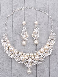 cheap -Jewelry 1 Necklace / 1 Pair of Earrings Imitation Pearl / Rhinestone Wedding 1set Women Silver Wedding Gifts