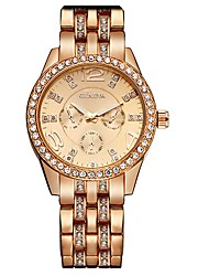 cheap -Women's Simulated Diamond Watch Wrist watch Quartz Rhinestone / Alloy Band Charm Sparkle Cool Silver Gold Rose Gold