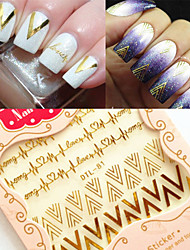 cheap -1Sheet 3D Nail Art Stickers Gold V Shape Heartbeat Nail Decals Tips Decoration