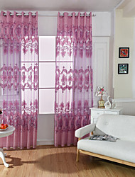Grommet Top One Panel Curtain European , Print Living Room Polyester Material Sheer Curtains Shades Home Decoration