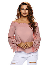cheap -Women's Going out Club Sexy Summer Fall T-shirt,Solid Boat Neck Long Sleeves Polyester Spandex Thin