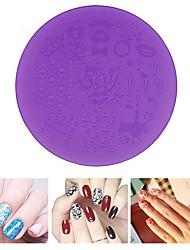abordables -1pcs placas de estampación en plástico de color púrpura del arte del clavo de la plantilla 7cm herramientas de la plantilla manicura