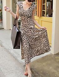 Women's Casual/Daily Sexy Swing Dress,Leopard V Neck Maxi Sleeveless Polyester All Seasons