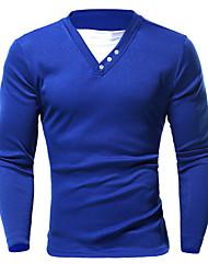 billige -V-hals Herre - Ensfarvet Bomuld Sport T-shirt