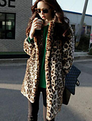 Women's Casual/Daily Simple Fur Coat,Leopard Long Sleeve Brown Faux Fur