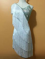 Latin Dance Dresses Women's Children's Performance Spandex Tassel(s) 1 Piece Sleeveless Natural Dress