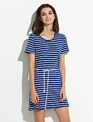 Women's Fine Stripe Casual/Daily Simple Large Size Loose Sheath Dress,Striped Round Neck Above Knee Short Sleeve Blue