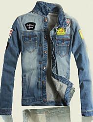 cheap -Men's Weekend Fashion Denim Jacket-Patchwork