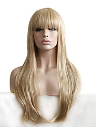 cheap -Popular Straight Blonde Long Length Wig with Bang Fashion Daily Wearing Natural Wig Heat Resistant Cheap