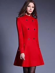 billige -Høj krave Langærmet Medium Dame Rød / Sort Ensfarvet Efterår / Vinter Street I-byen-tøj Frakke,Polyester
