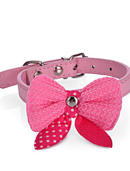 Dog Collar Adjustable/Retractable / Strobe/Flashing Bowknot Red / Black / Pink / Purple / Orange / Rose PU Leather