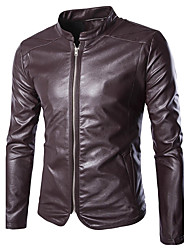 Men's Daily Casual Leather JacketsSolid Stand Long Sleeve Fall / Winter Red / Black PU Thick