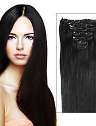 Недорогие -Febay На клипсе Расширения человеческих волос Прямой человеческие волосы Remy Натуральные волосы Бразильские волосы Пепел коричневый