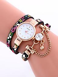 Mulheres Relógio de Moda Bracele Relógio Relógio Casual Quartzo / imitação de diamante PU Banda Pontos Flor CasualPreta Azul Vermelho