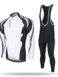 cheap -XINTOWN Men's Long Sleeves Cycling Jersey with Tights - Black Bike Bib Tights Jersey Pants / Trousers Clothing Suits, 3D Pad, Breathable,