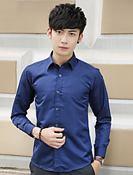 Men's Casual/Daily / Formal / Work Simple Fall Shirt,Solid Shirt Collar Long Sleeve Blue / Red / White / Black Cotton / Polyester Medium