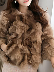 cheap -Women's Casual/Daily Simple Fur Coat,Solid Long Sleeve Blue / White / Brown / Gray / Green Fox Fur