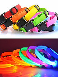 cheap -Dog Collar LED Lights Adjustable / Retractable Solid Nylon Red Green Blue Pink Rainbow