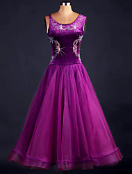 cheap -Ballroom Dance Dresses Women's Performance Spandex Draped Crystals 1 Piece Black Modern Dance Dress
