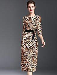 Damen Hülle Kleid-Lässig/Alltäglich Einfach Leopard Rundhalsausschnitt Midi ½ Länge Ärmel Braun Polyester Herbst Mittlere Hüfthöhe