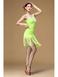 Latin Dance Dresses Women's Performance Polyester Flower(s) Tassel(s) 4 Pieces Sleeveless High Dress Gloves Shorts