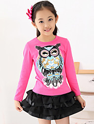 Girls Fashionable Han Edition Cotton Lace Long Sleeve Shirt T-shirt Unlined Upper Garment