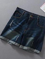 preiswerte -Damen Freizeit Mittlere Hüfthöhe Mikro-elastisch Gerade Kurze Hosen Hose,Polyester Sommer Solide