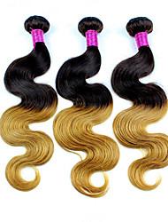 cheap -Indian Hair Body Wave Ombre Hair Weaves 3 Bundles Human Hair Weaves Black / Strawberry Blonde Human Hair Extensions