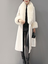 cheap -Women's Vintage Coat - Solid Colored, Fur Trim