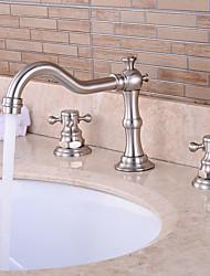 valvola ceramica contemporanea due manici tre fori per il cromo vasca da bagno lavandino rubinetto / stanza da bagno