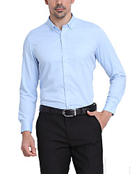 cheap -Men's Work Shirt - Solid Colored Basic Button Down Collar