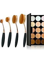 5Pc/Set Pro Gold Black Oval Women Face  Toothbrush Shape Brushes Makeup Tools & 15 Colors Contour Face Cream Makeup Concealer Palette