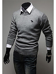 Men's Casual/Daily Simple Regular Pullover,Solid Round Neck Long Sleeves Polyester Spring Fall Medium Micro-elastic