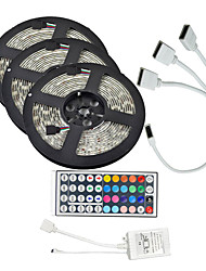 15M(3*5M) 3528 RGB 900 LEDs Strip Flexible Light LED Tape String Lights waterproof AC 12V 600LEDs with 44Key IR Remote Controller Kit