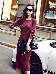 cheap -Women's Daily Casual Sweater Dress,Print Round Neck Midi Long Sleeves Acrylic Spring Fall Mid Rise Micro-elastic Medium