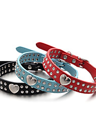 cheap -Dog Collar Adjustable / Retractable Handmade Hearts Rhinestone PU Leather Black Orange Red Blue Pink