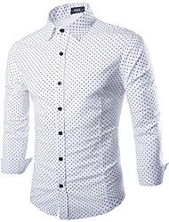 Camicia Da uomo Per uscire Semplice Autunno,Tinta unita A pois Colletto Cotone Manica lunga Medio spessore