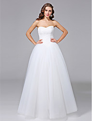 Ball Gown Strapless Floor Length Lace Tulle Wedding Dress with Lace by LAN TING BRIDE®
