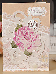 Side Fold Wedding Invitations 1-Greeting Cards Hard Card Paper Flowers