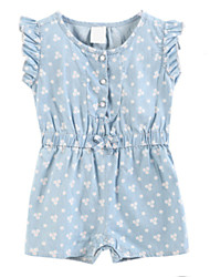 cheap -Girls' Dress, Cotton Spring Summer Short Sleeves Dot Blue Light Blue